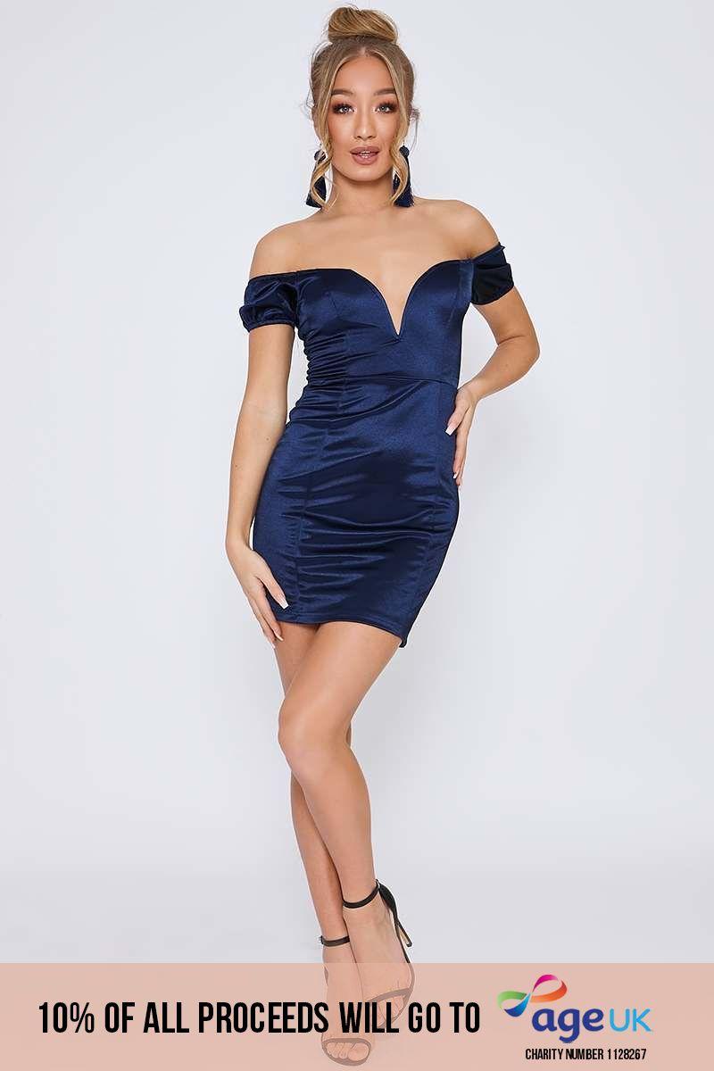 EVIAN BLUE SATIN BARDOT PLUNGE MINI DRESS