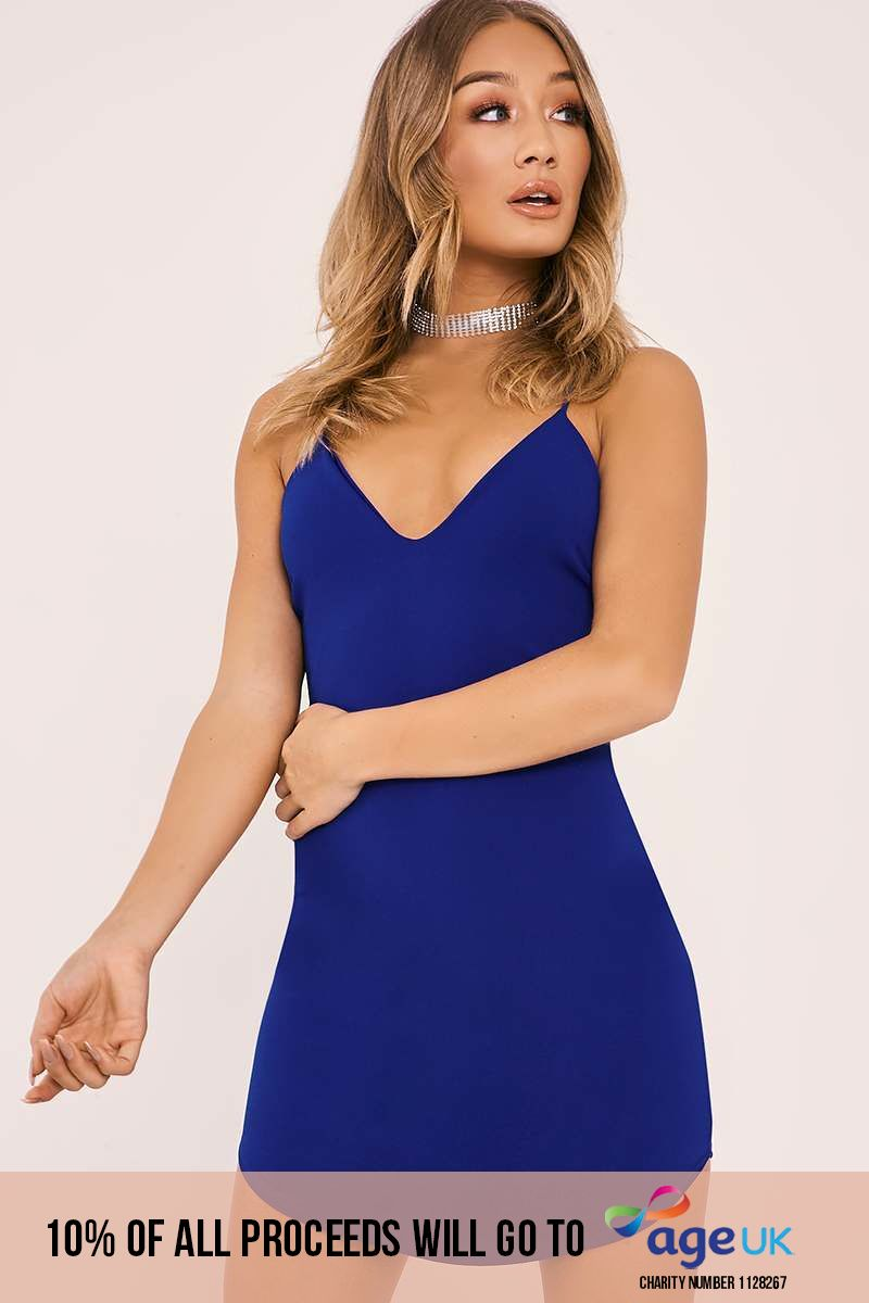 cobalt blue strappy plunge bodycon mini dress