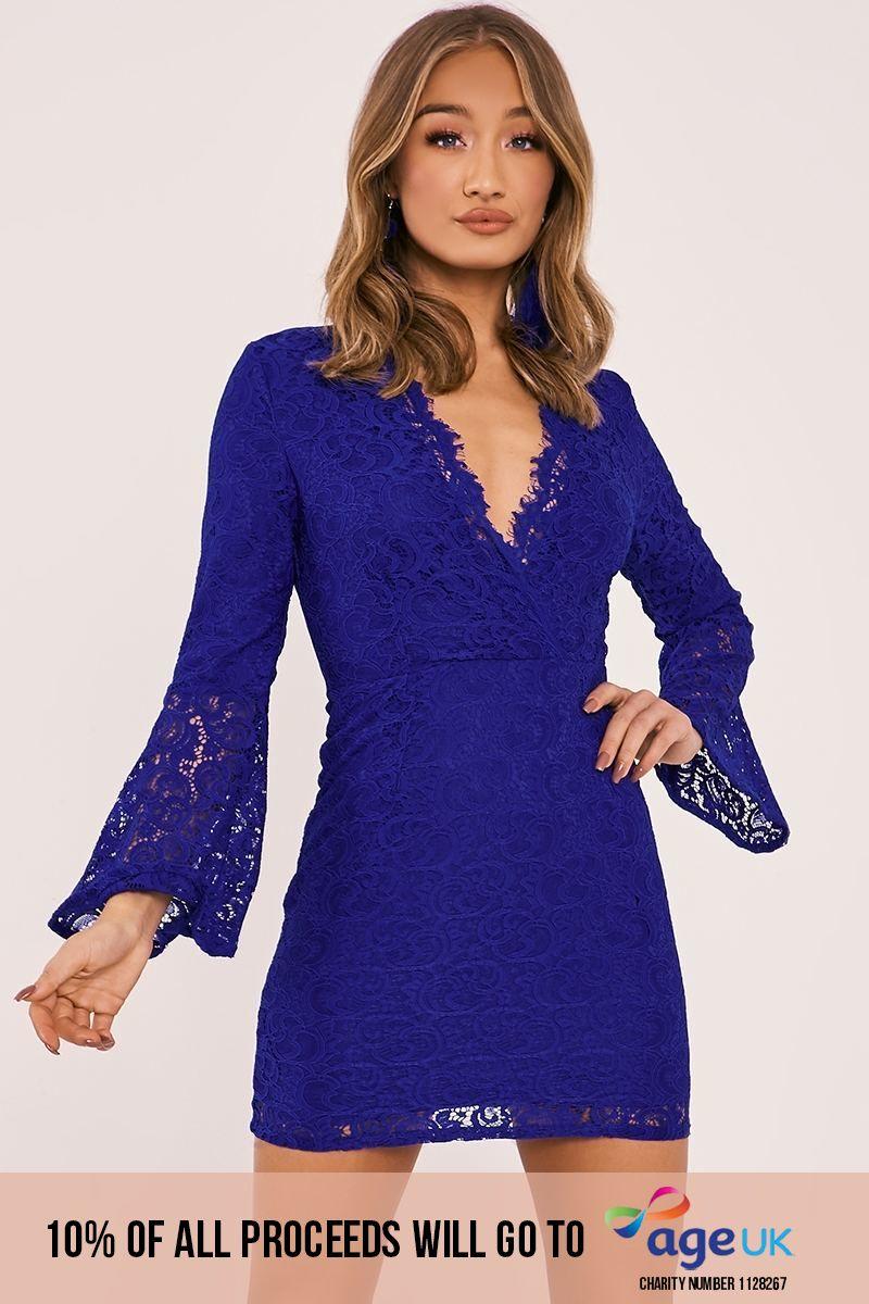 cobalt lace flared sleeve plunge dress