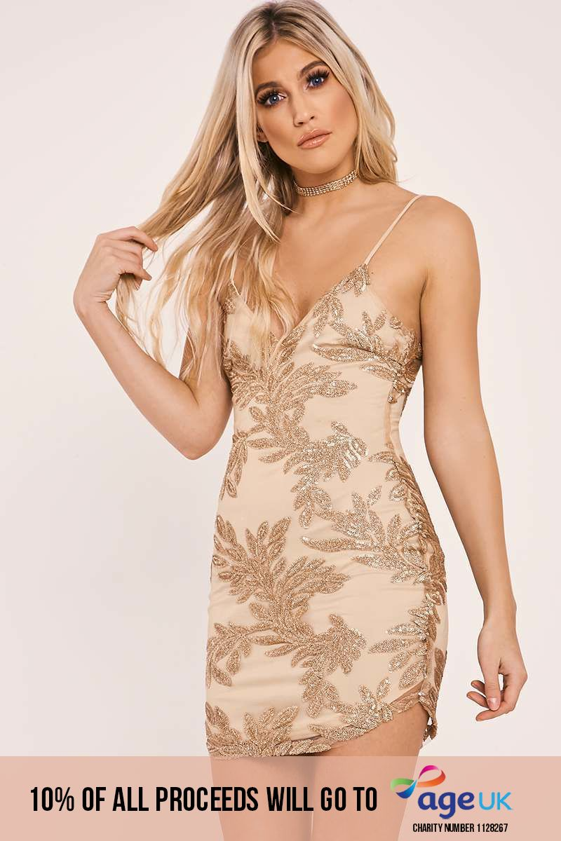 CAITIE GOLD SEQUIN LEAF PLUNGE BODYCON DRESS