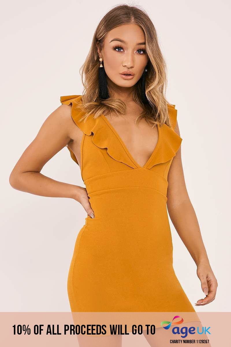 DARBY MUSTARD FRILL PLUNGE MINI DRESS