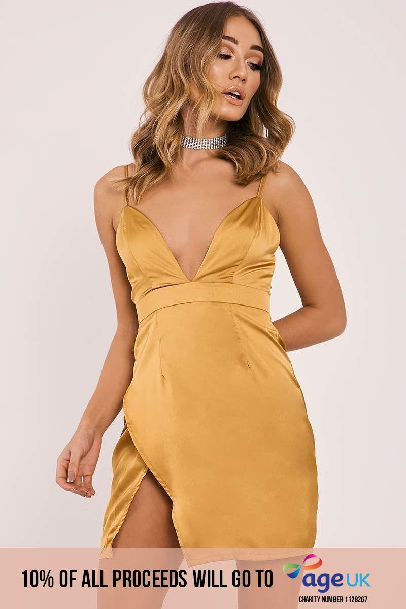 mustard satin plunge split leg dress