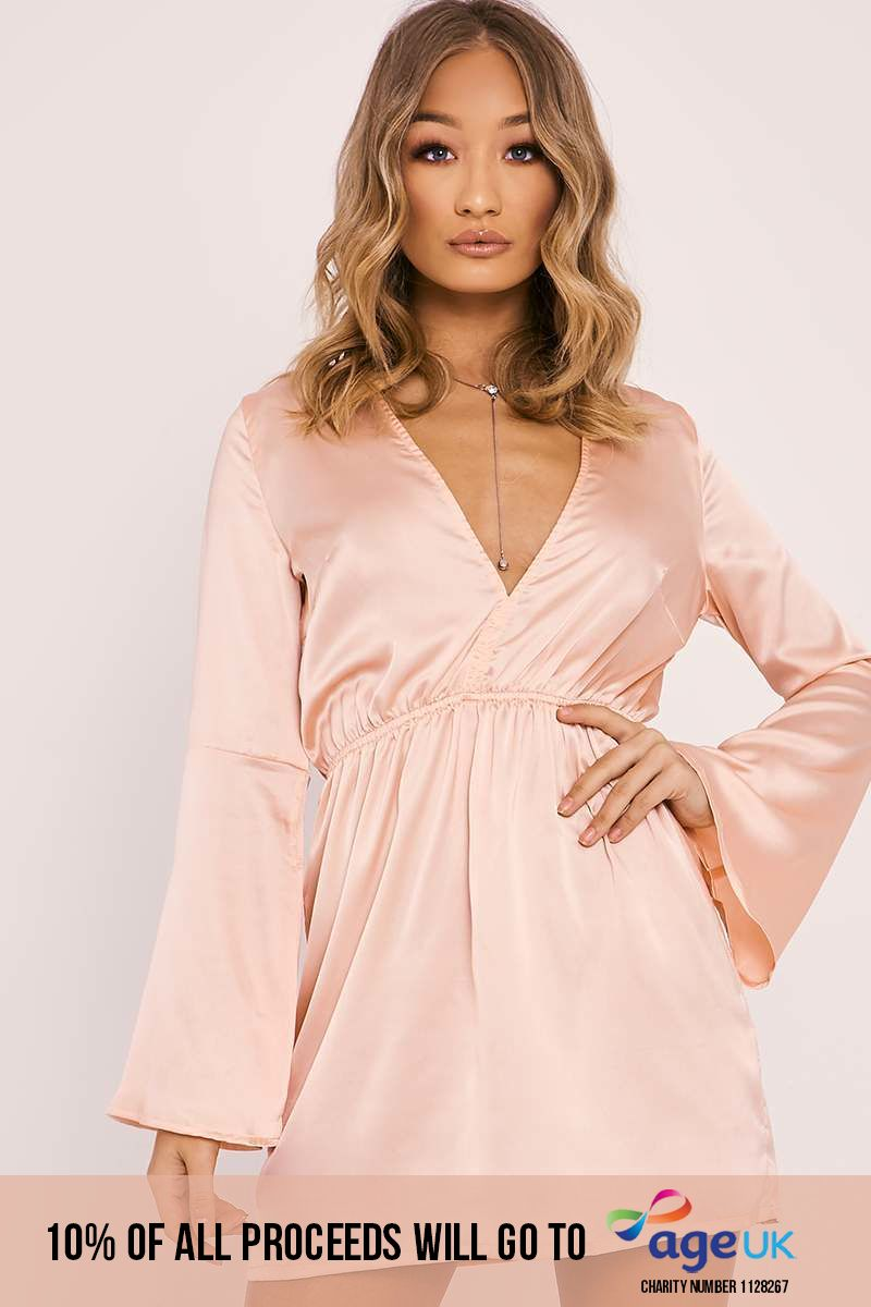 nude satin flared sleeve plunge skater dress