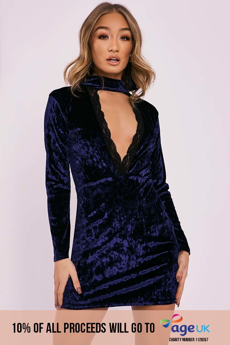 BEBE NAVY CRUSHED VELVET LACE TRIM PLUNGE DRESS