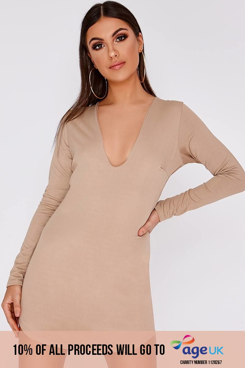 stone long sleeve plunge mini dress