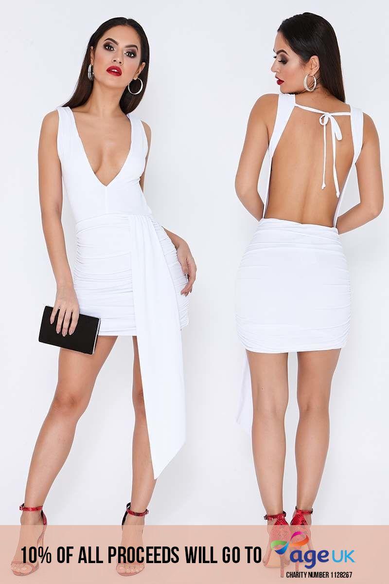 white slinky plunge drape front dress