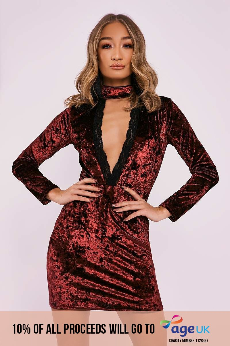 BEBE WINE CRUSHED VELVET LACE TRIM PLUNGE DRESS