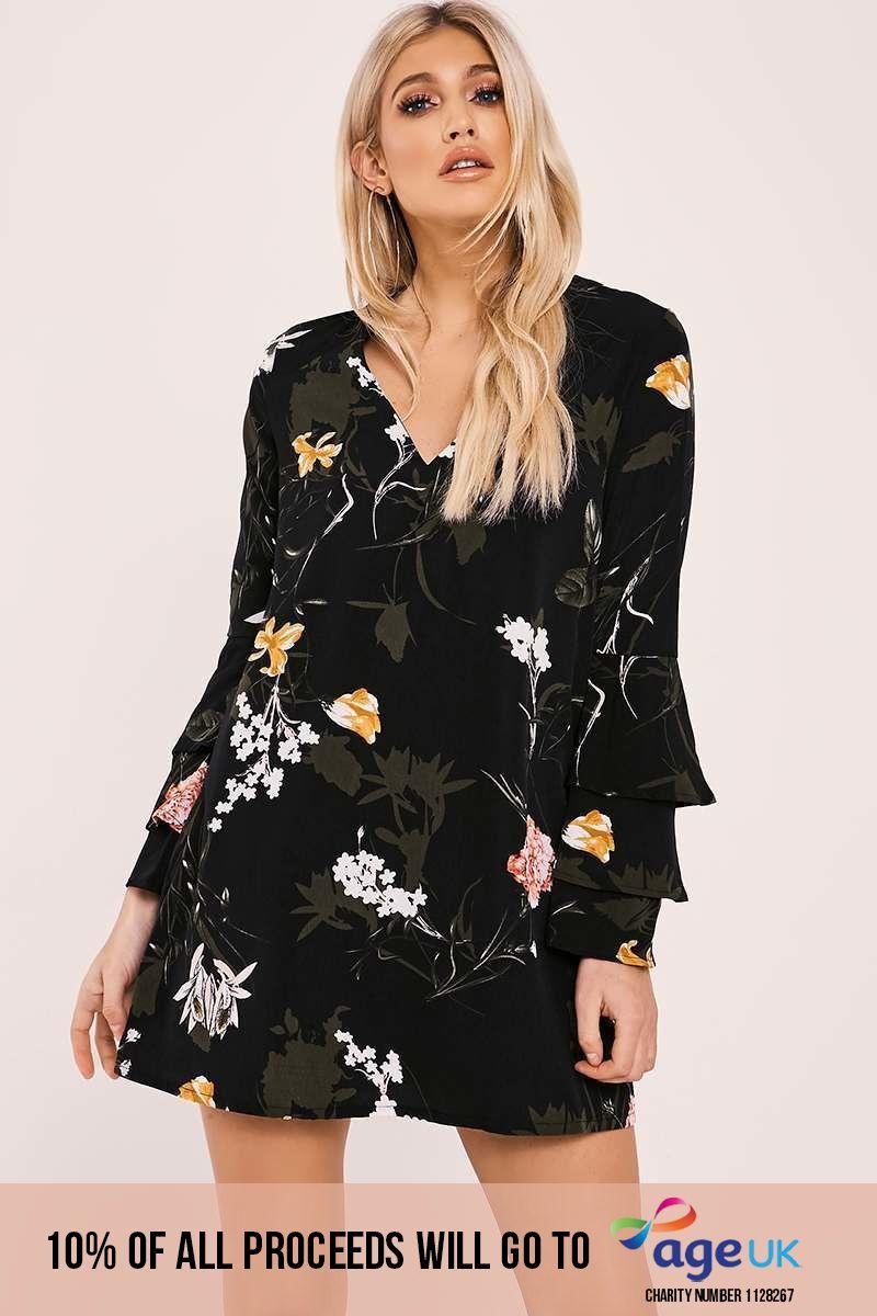black ruffle sleeve skater dress