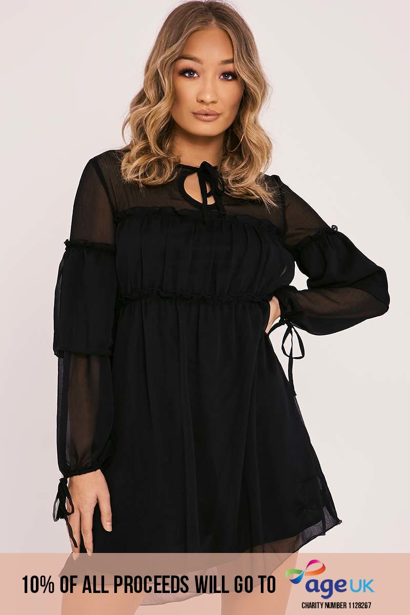 black sheer frill dress