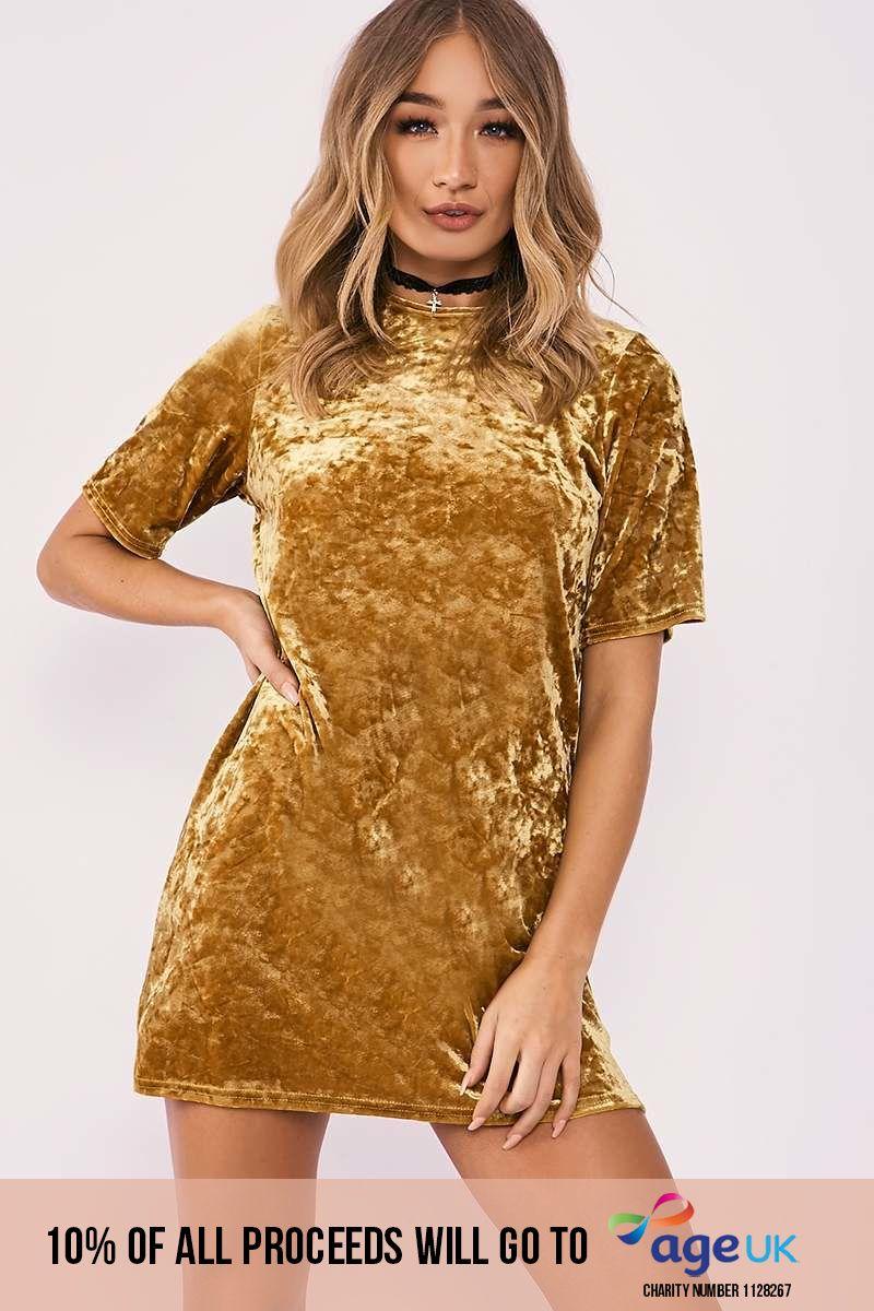 mustard crushed velvet oversized t shirt dress