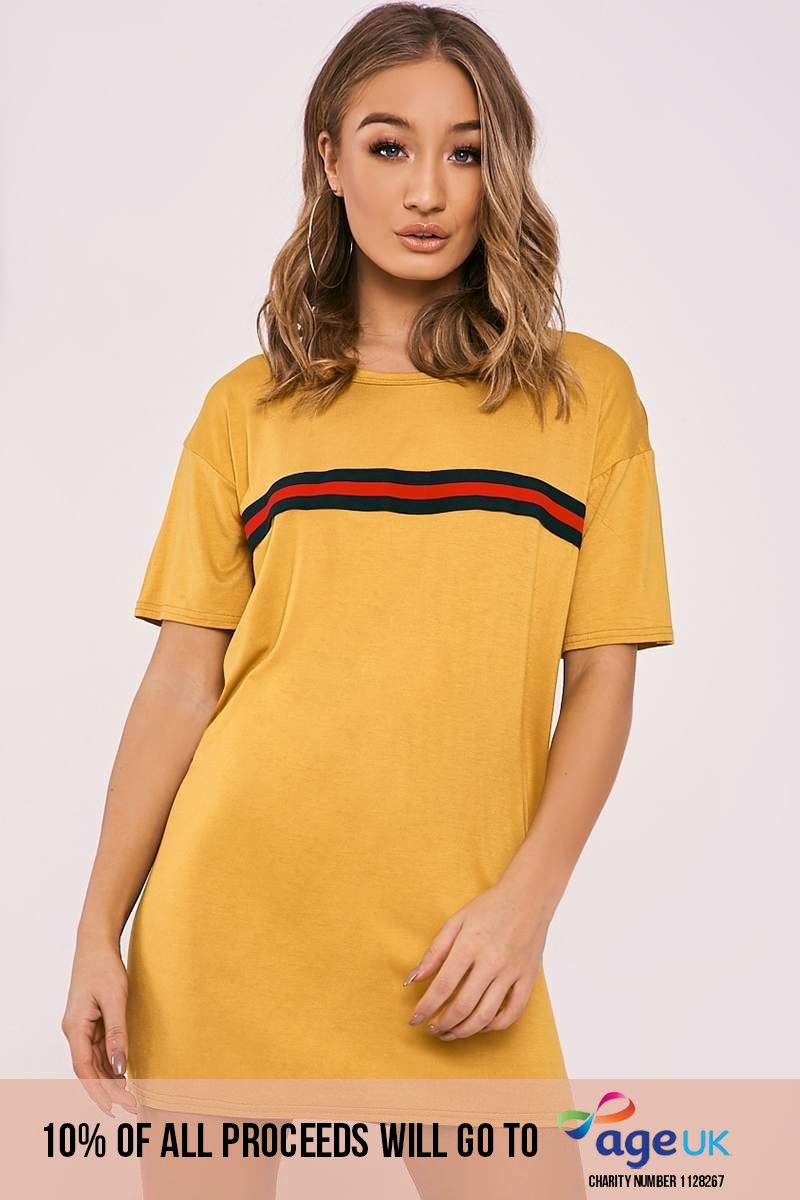 mustard sports stripe t shirt dress