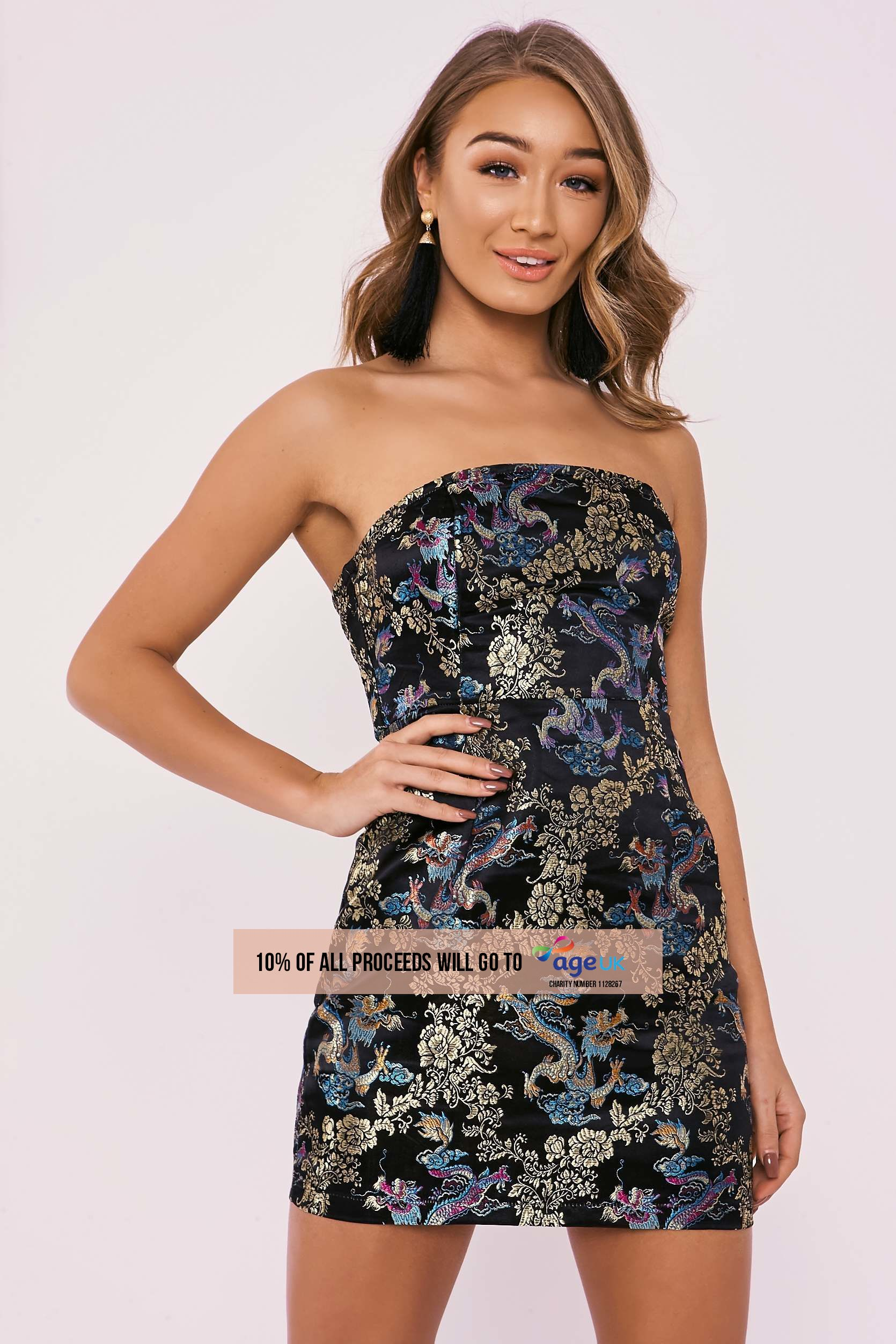 black oriental dragon brocade bandeau dress