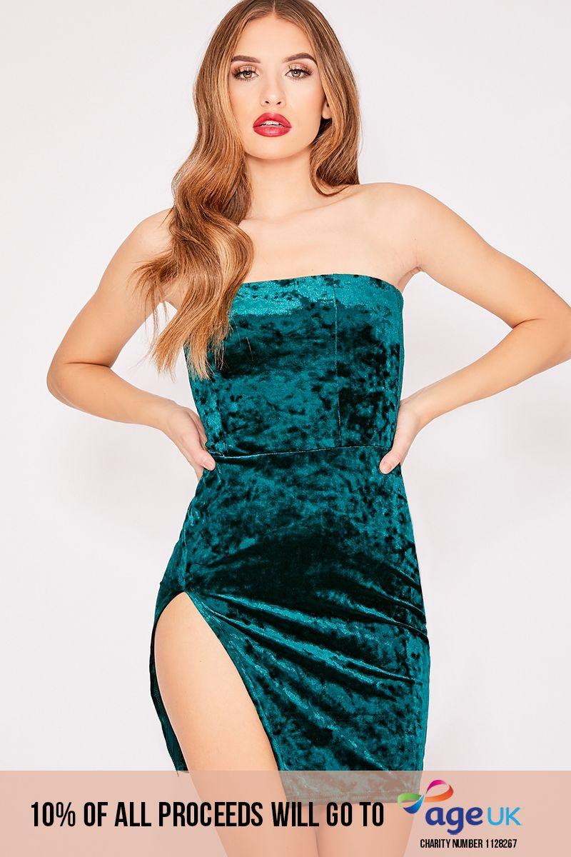 green crushed velvet split leg bandeau dress