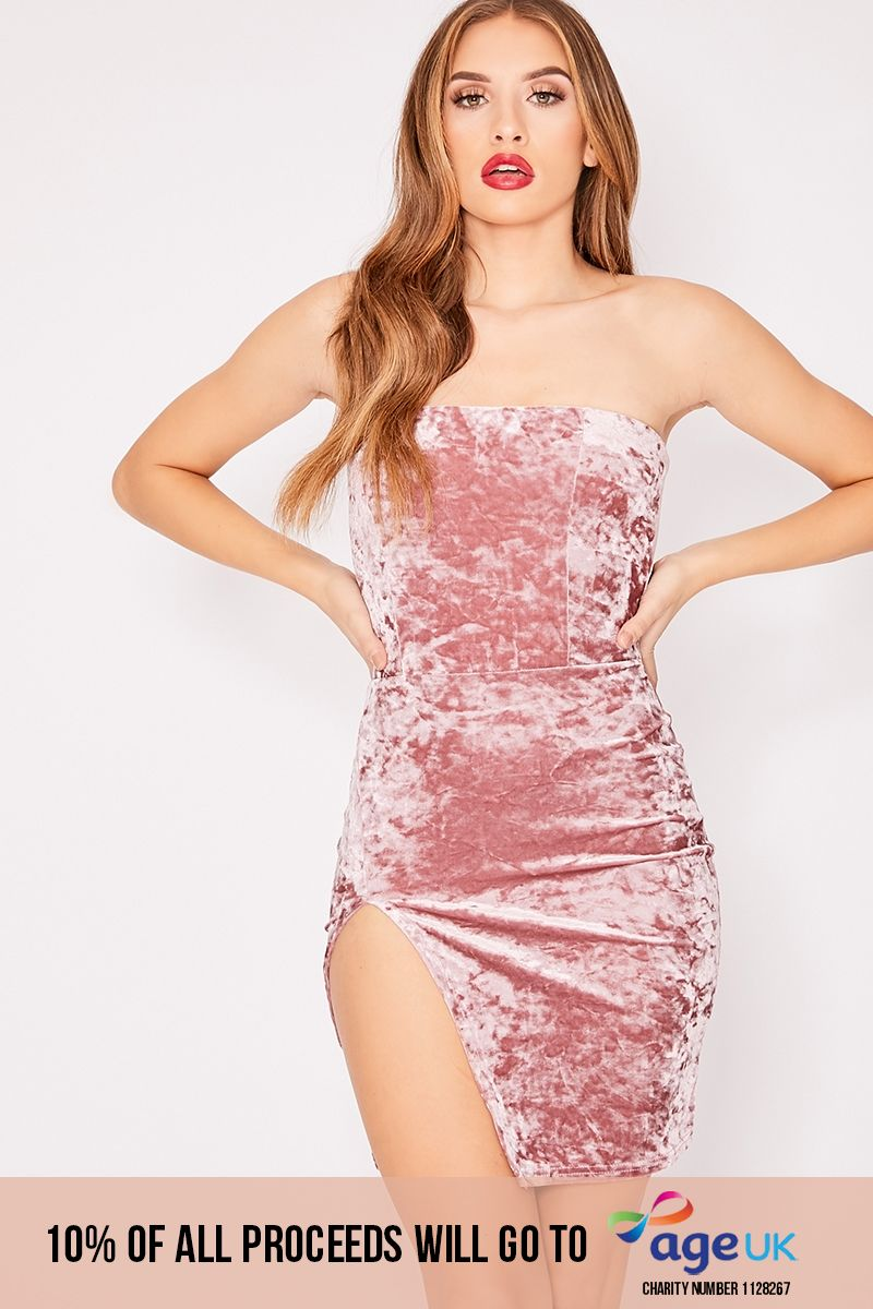 DALIY PINK CRUSHED VELVET SPLIT LEG BANDEAU DRESS