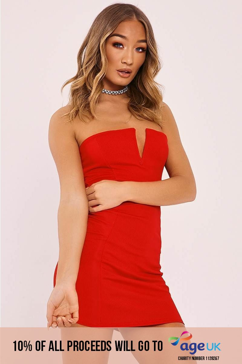 GAILYN RED RIBBED PLUNGE BANDEAU MINI DRESS