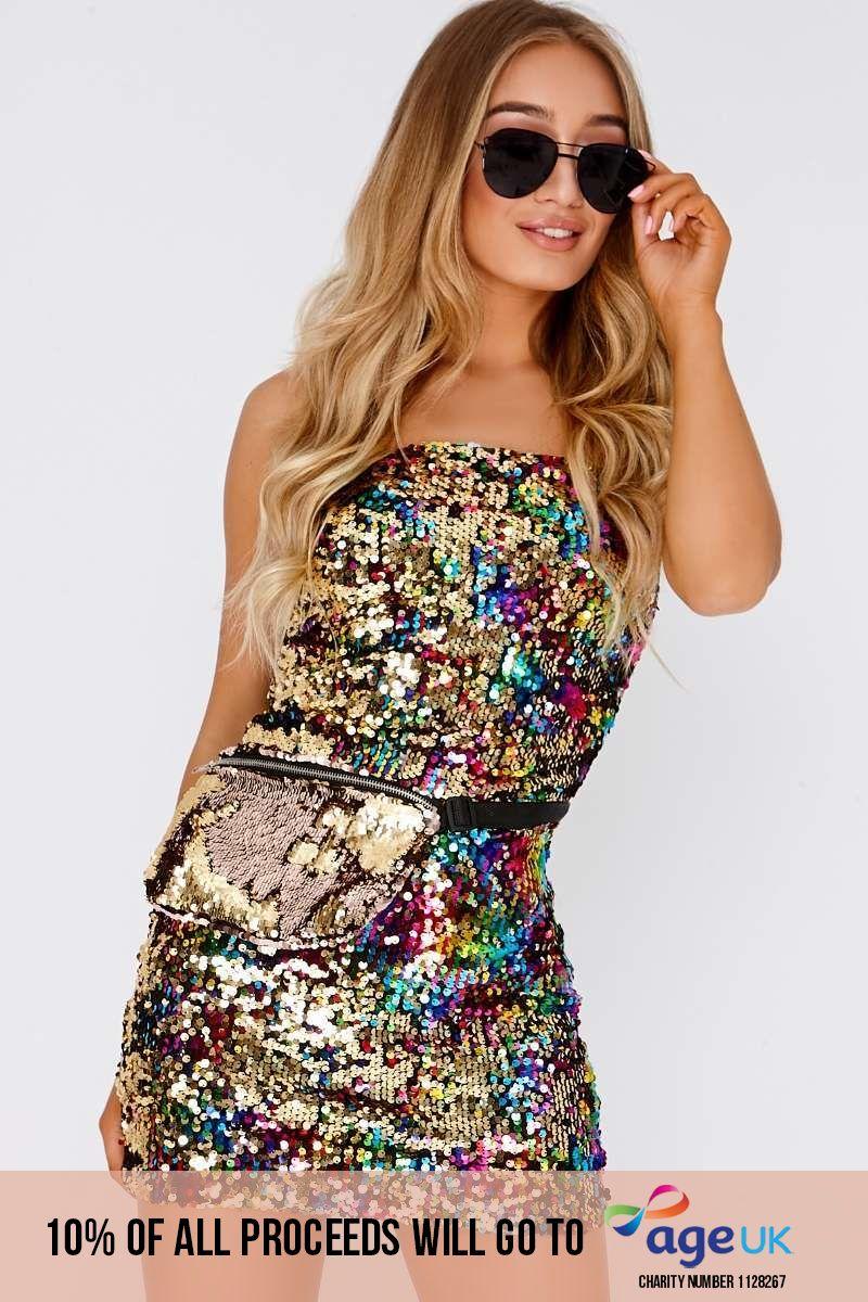 multicoloured sequin strappy mini dress