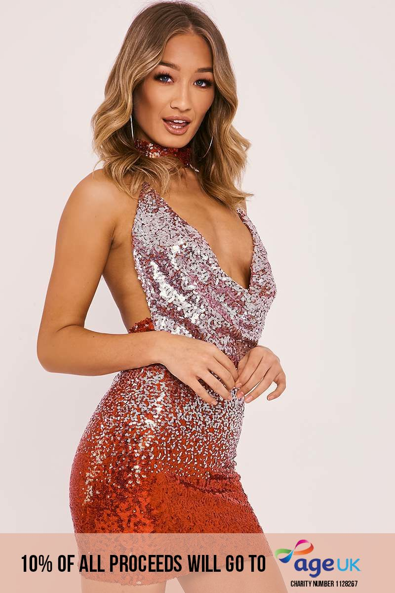 red ombre sequin cowl neck mini dress