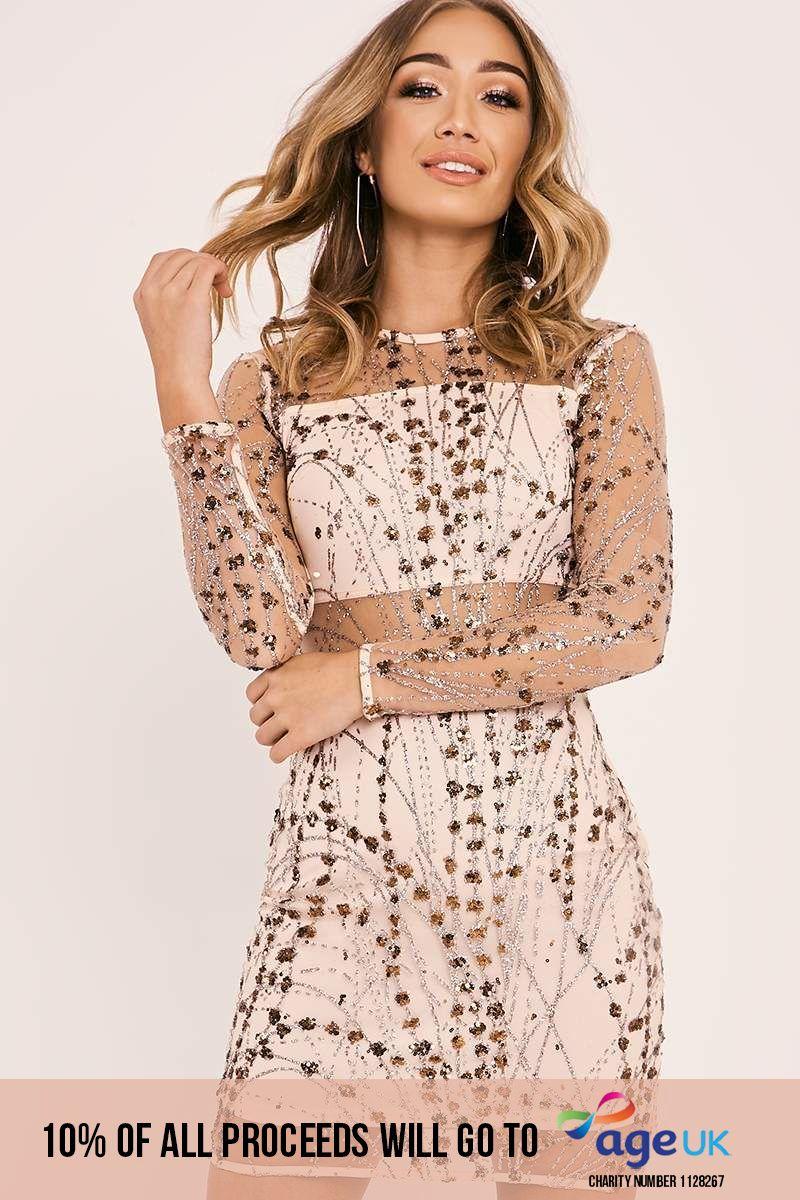 rose gold sequin mesh overlay dress