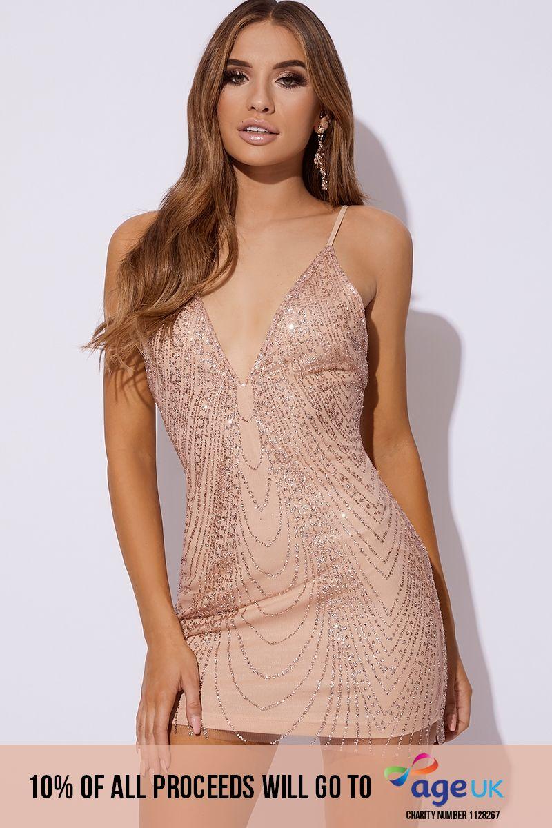 rose gold glitter mesh mini dress