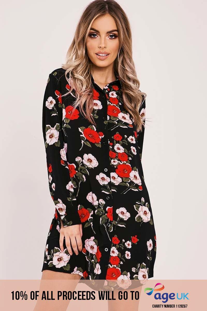 CALLAH BLACK FLORAL PRINT SHIRT DRESS