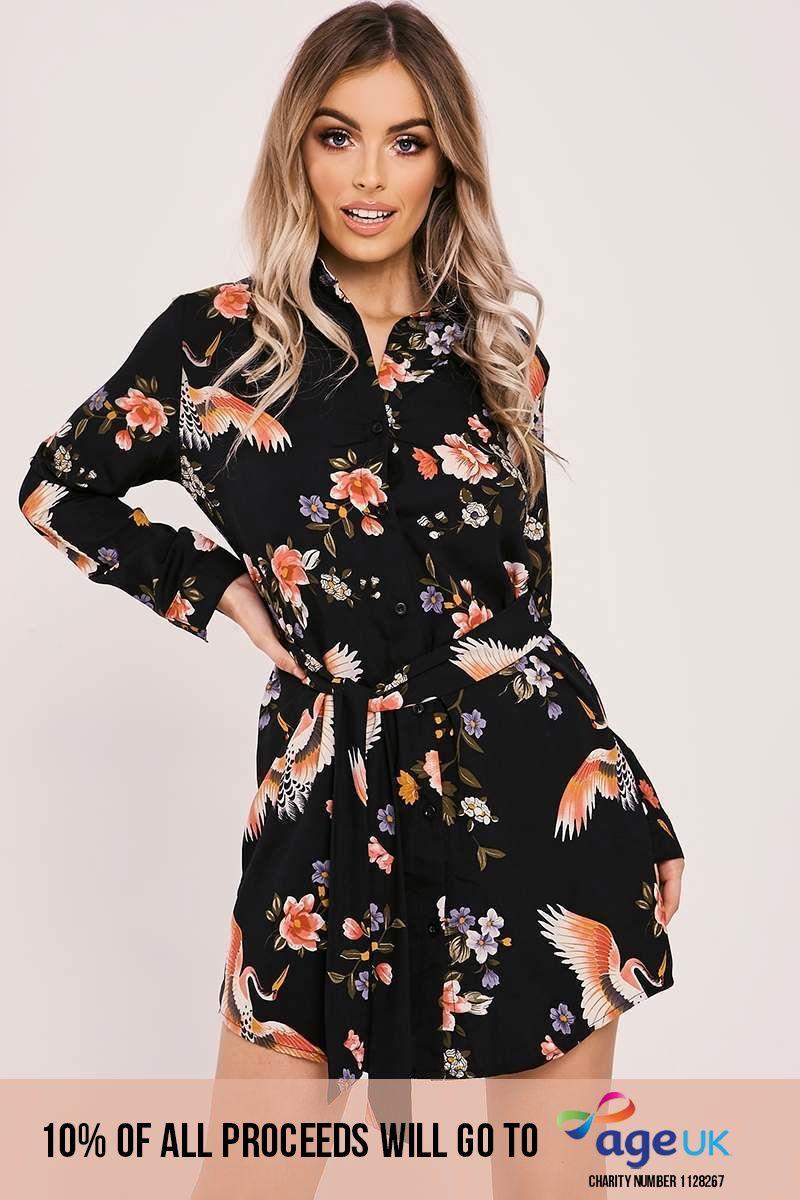 black tie waist floral print shirt dress