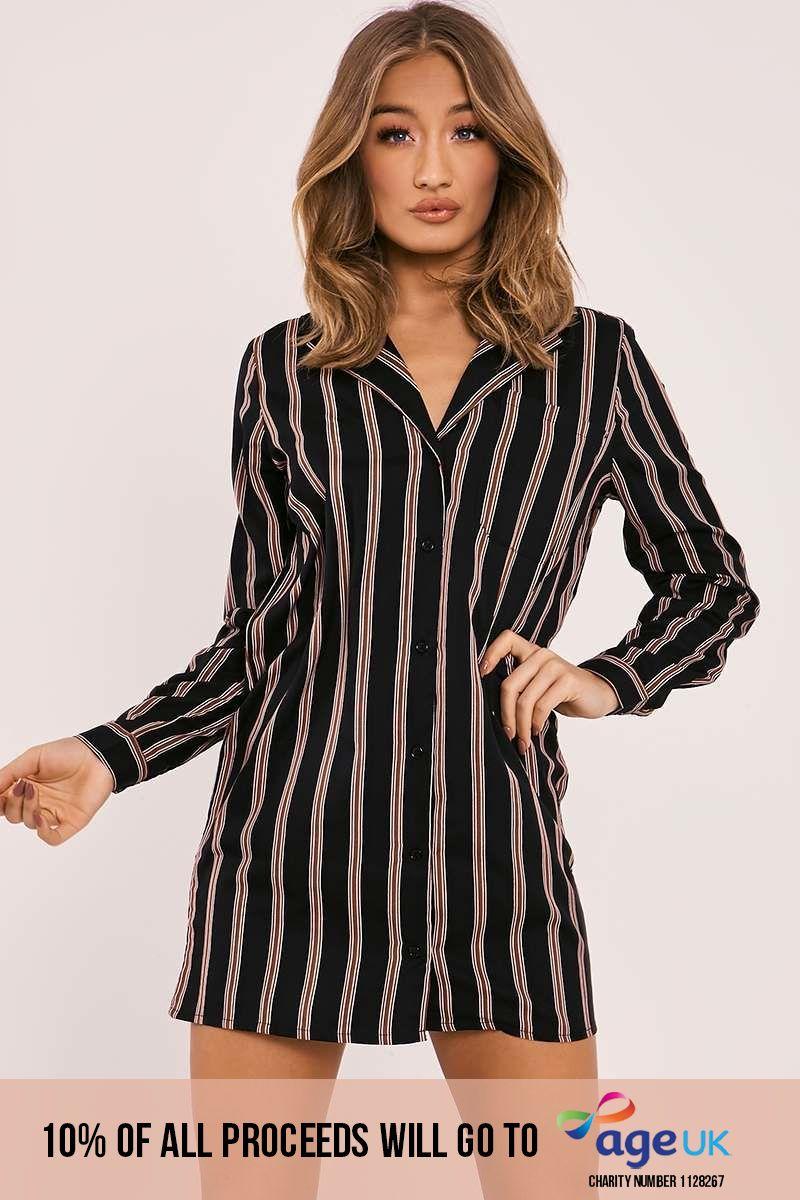 black striped blazer shirt dress