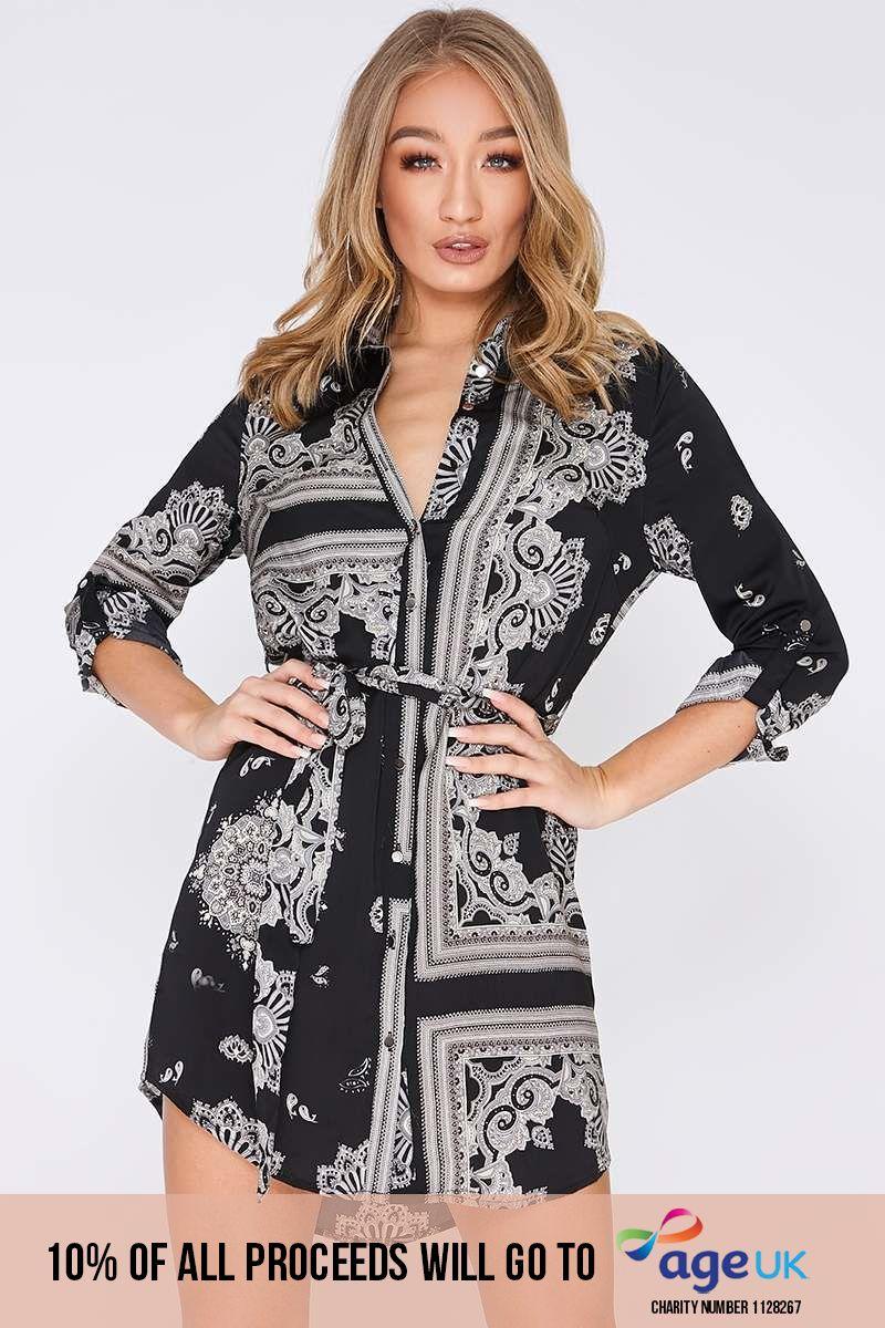 black satin scarf print shirt dress