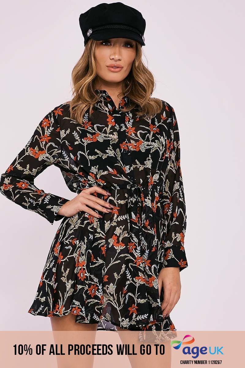 black floral sheer ruched waist shirt dress