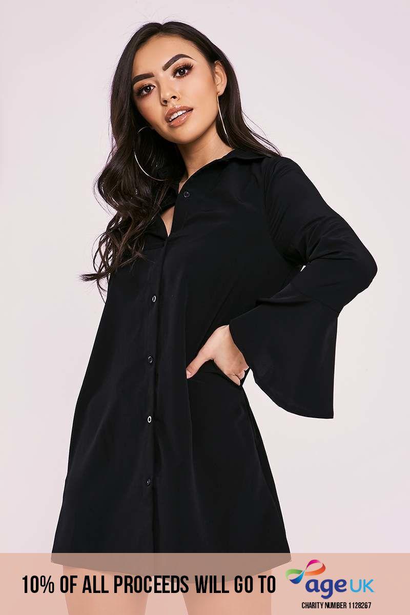 black flared sleeve silky shirt dress