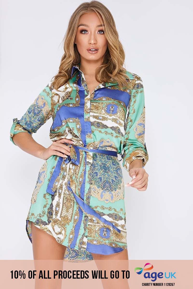 blue satin scarf print shirt dress