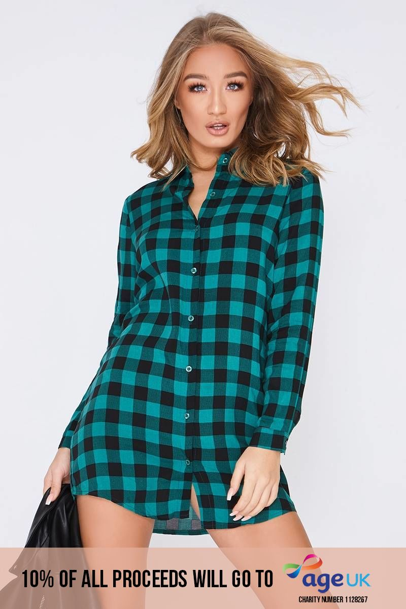 green checked shirt dress