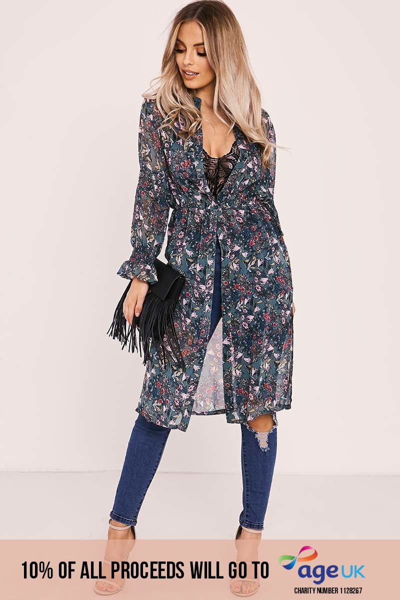 ELLYSON GREEN FLORAL SHEER OVERLAY SHIRT DRESS
