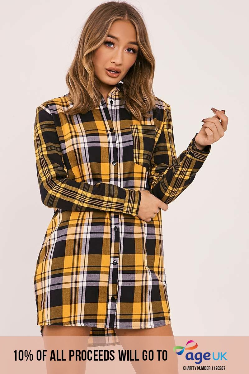 mustard checked shirt dress