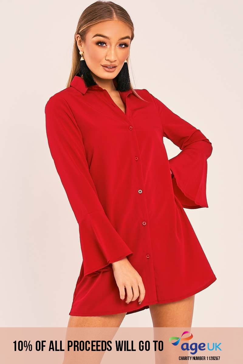 red flared sleeve silky shirt dress