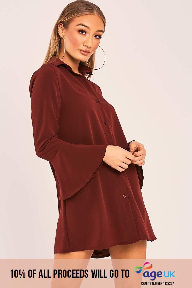wine flared sleeve silky shirt dress