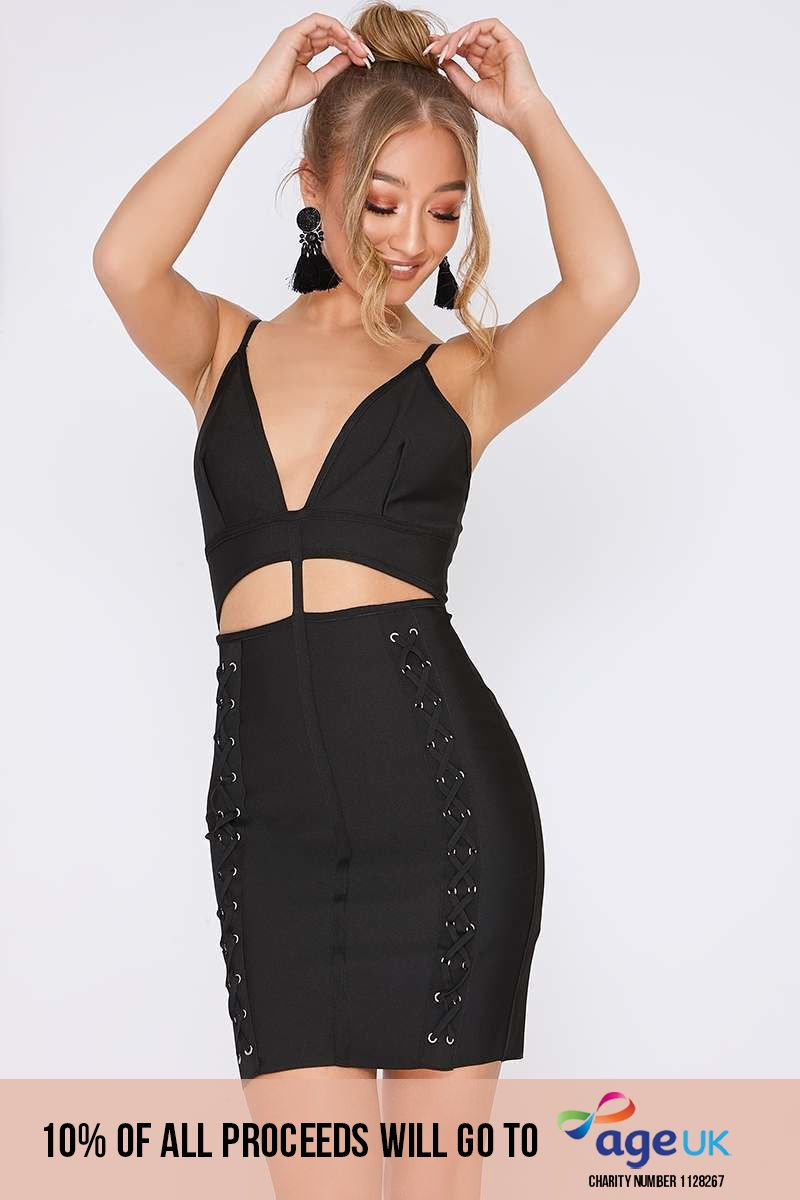 DARIANA BLACK CUT OUT LACE UP BANDAGE DRESS