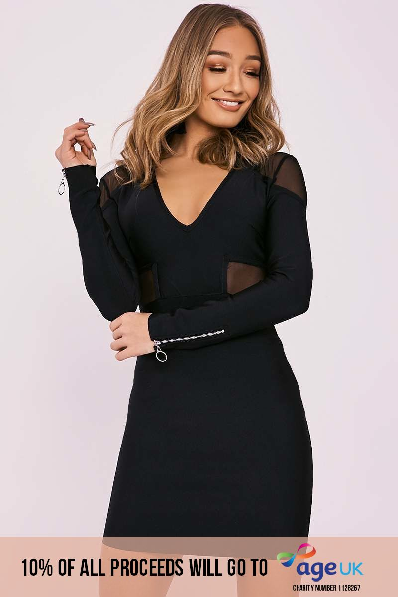 black mesh insert plunge bandage dress