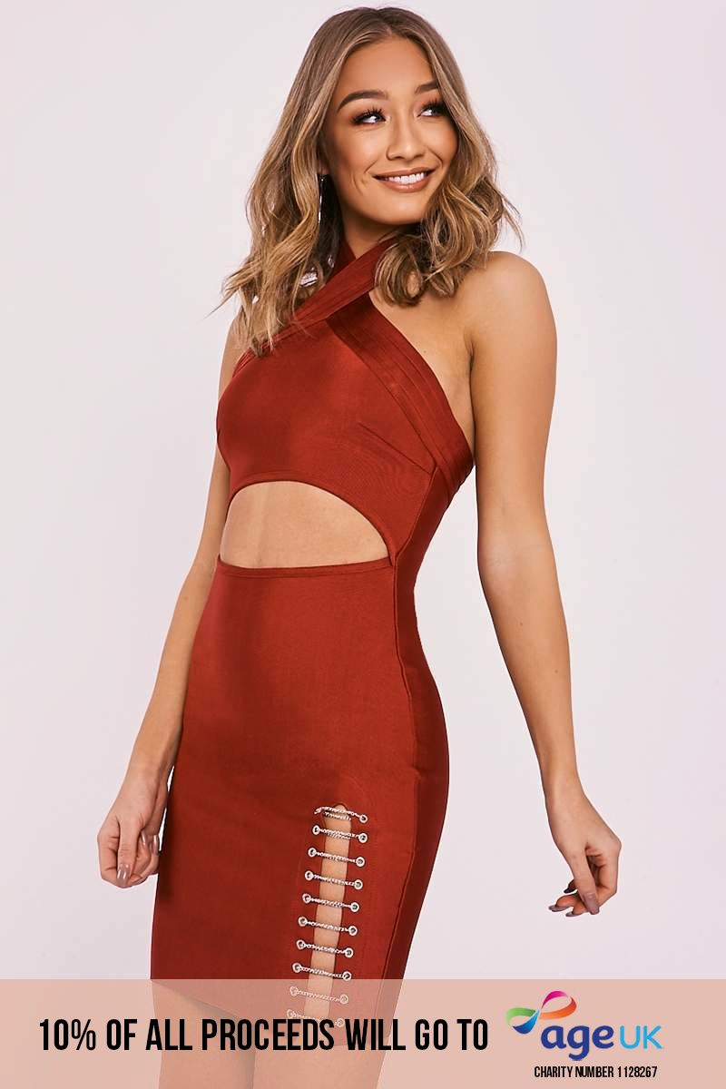 DARRA WINE CHAIN SPLIT BANDAGE DRESS