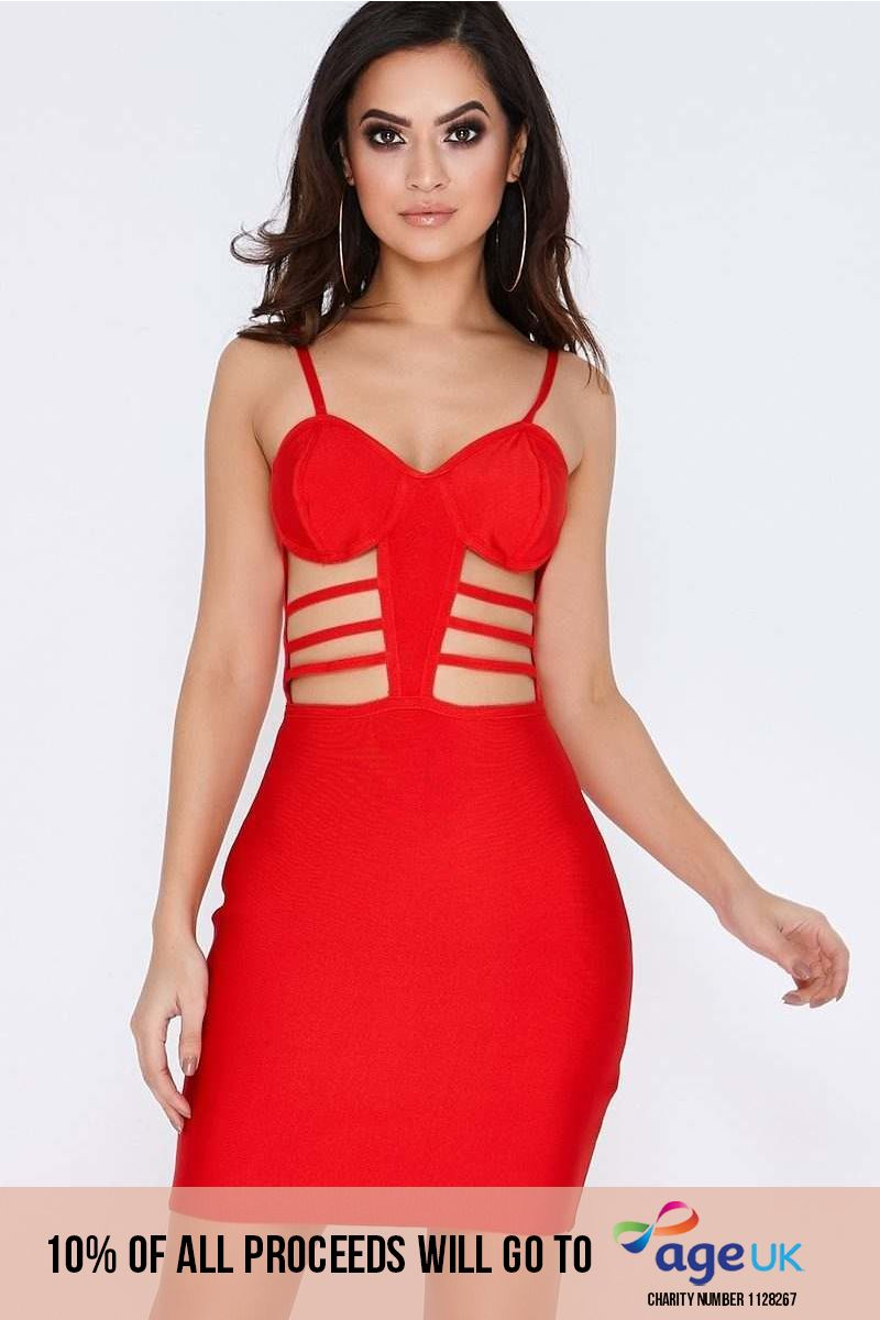 red cut out strappy bandage dress