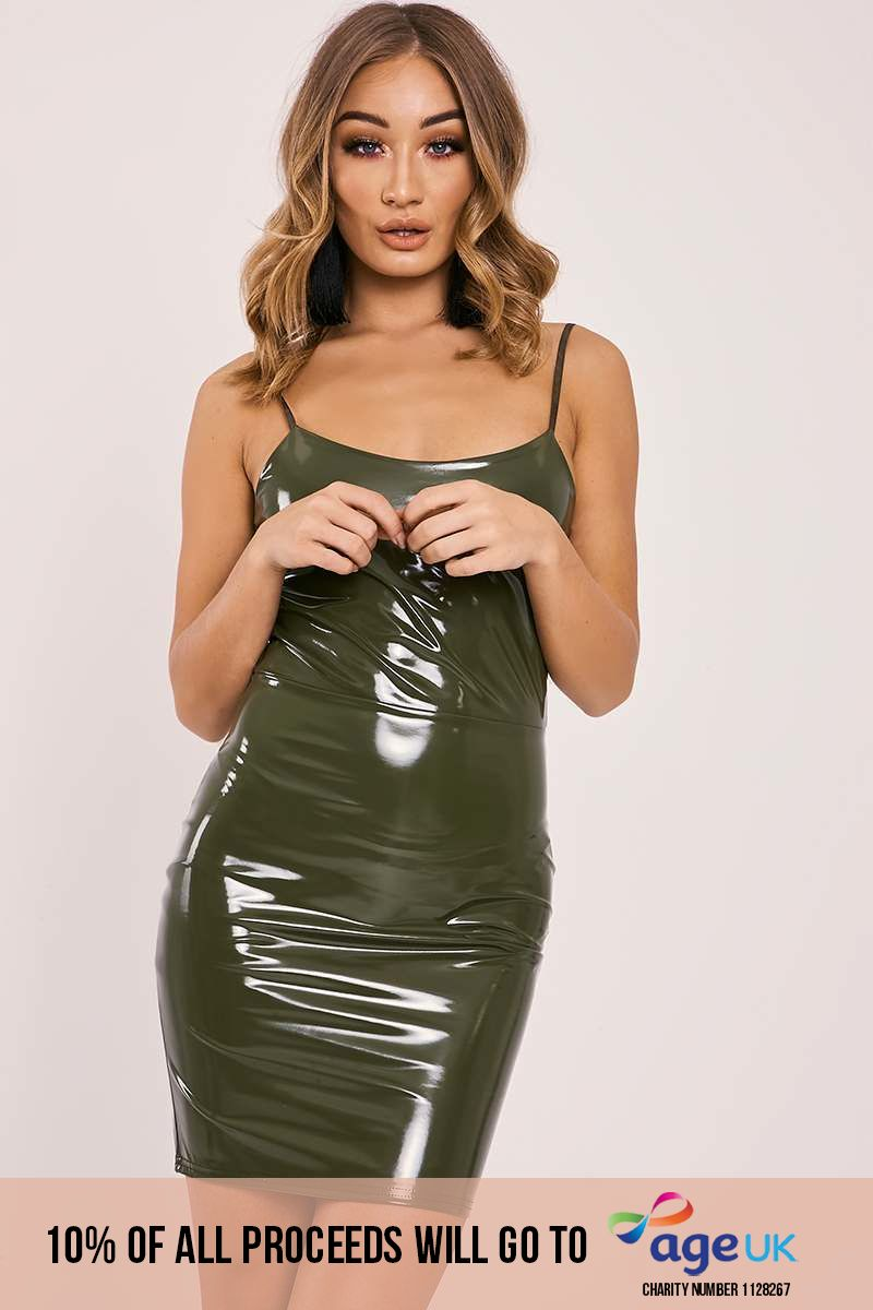 khaki vinyl strappy bodycon dress