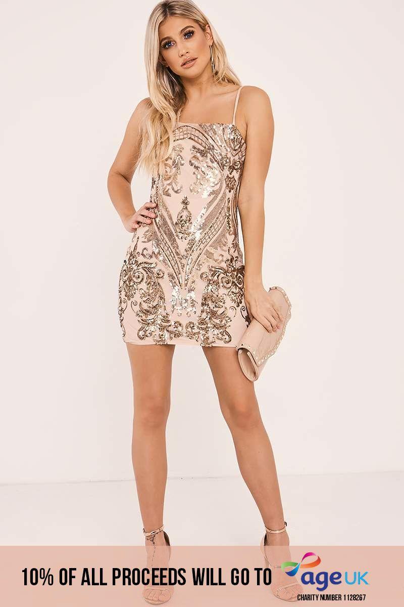 rose gold paisley sequin mesh mini dress