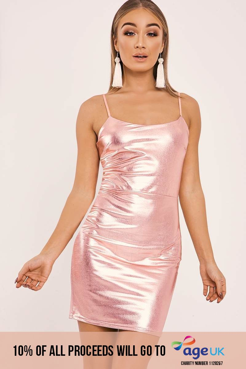 rose gold faux leather strappy bodycon dress