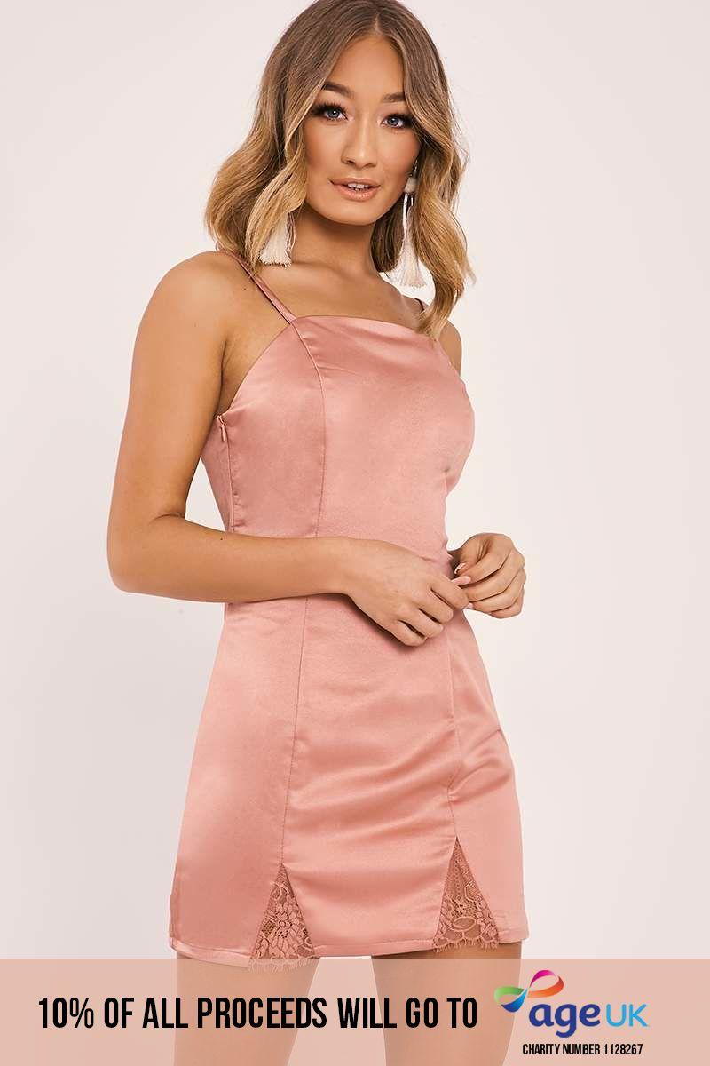 rose gold satin mini dress