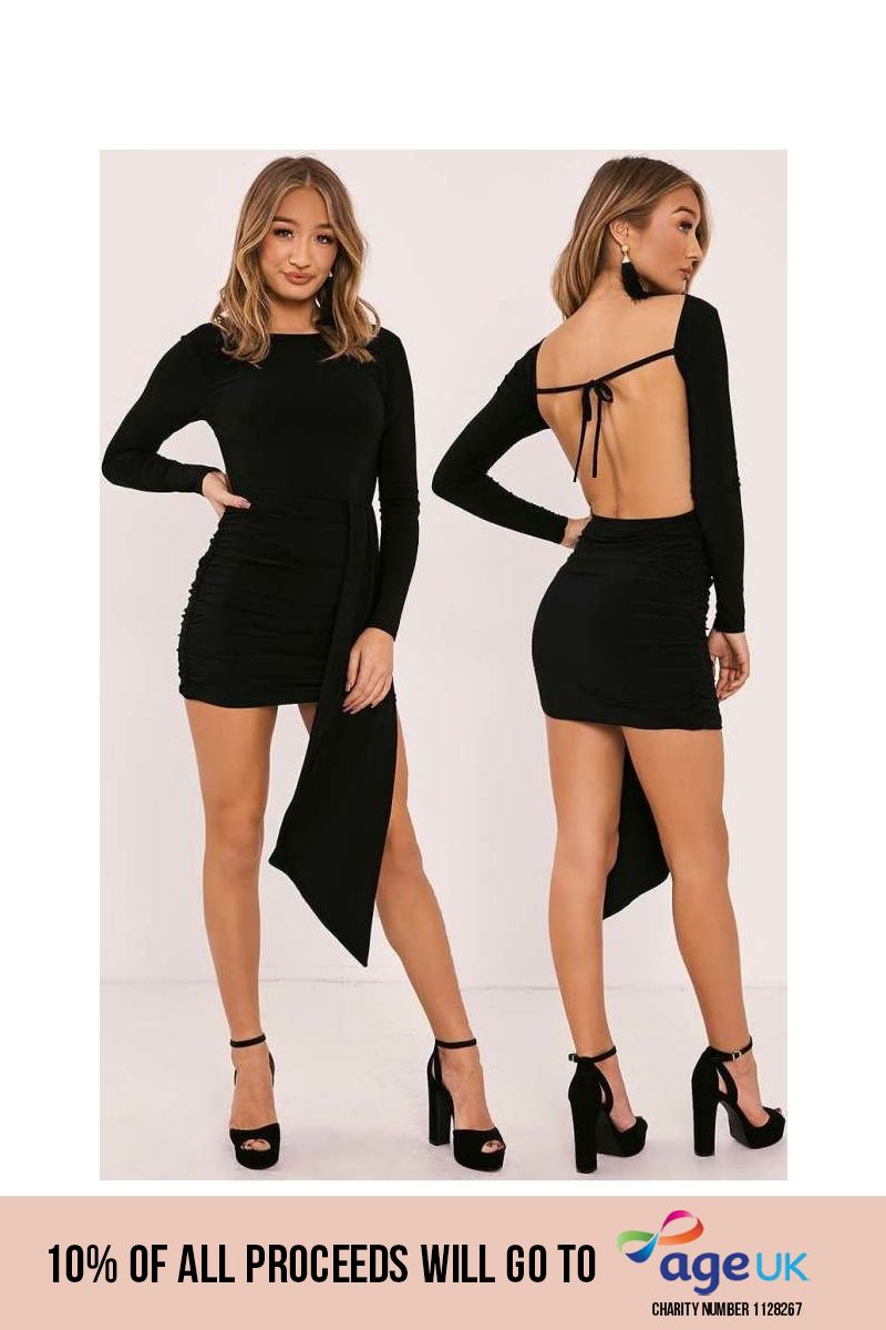 HAILEY BLACK SLINKY DRAPE FRONT BACKLESS MINI DRESS