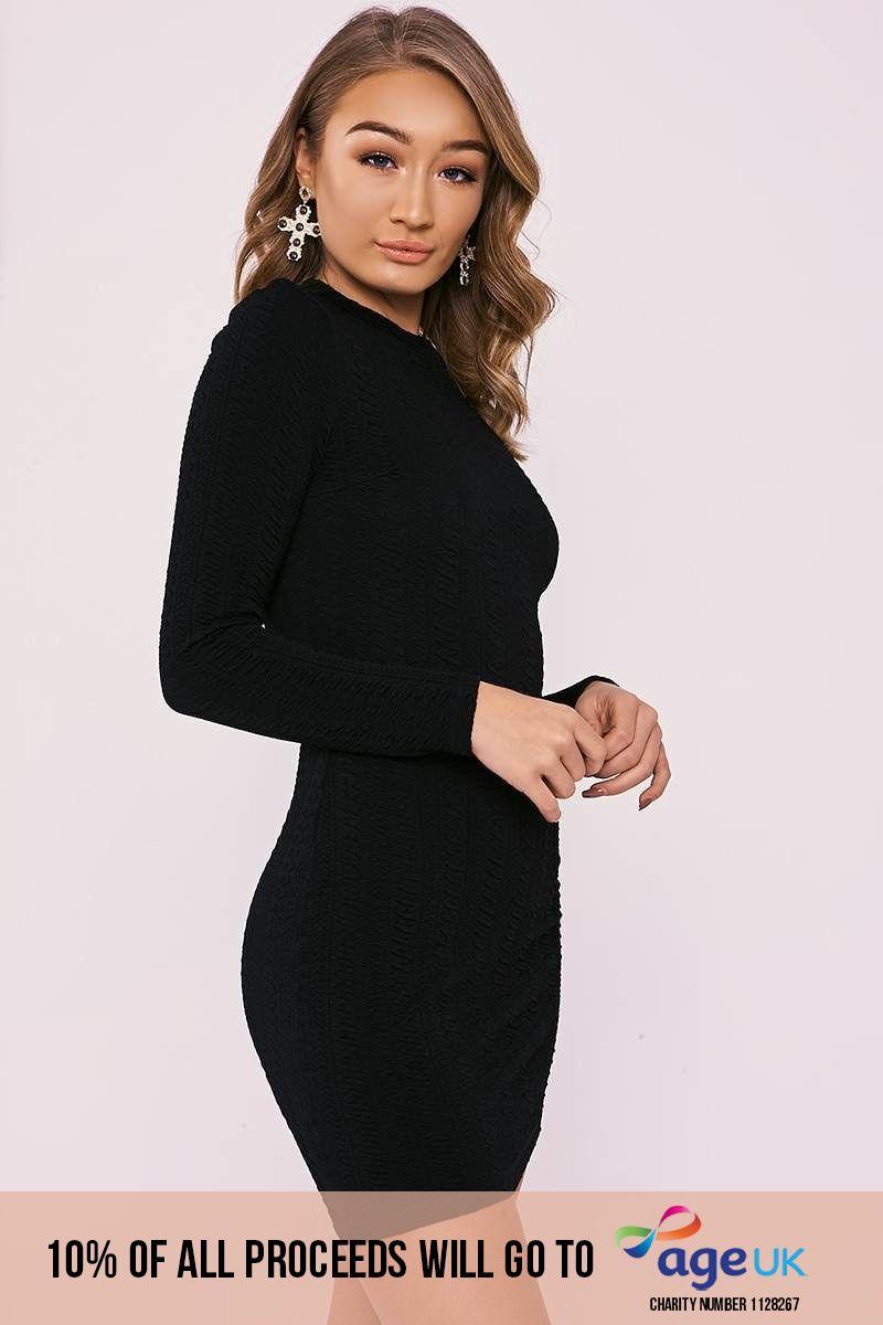 DALY BLACK TEXTURED LONG SLEEVE MINI DRESS