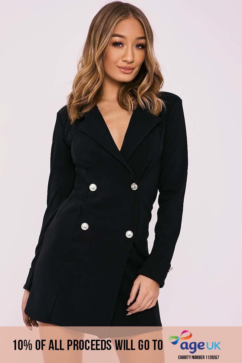 black gold button blazer dress