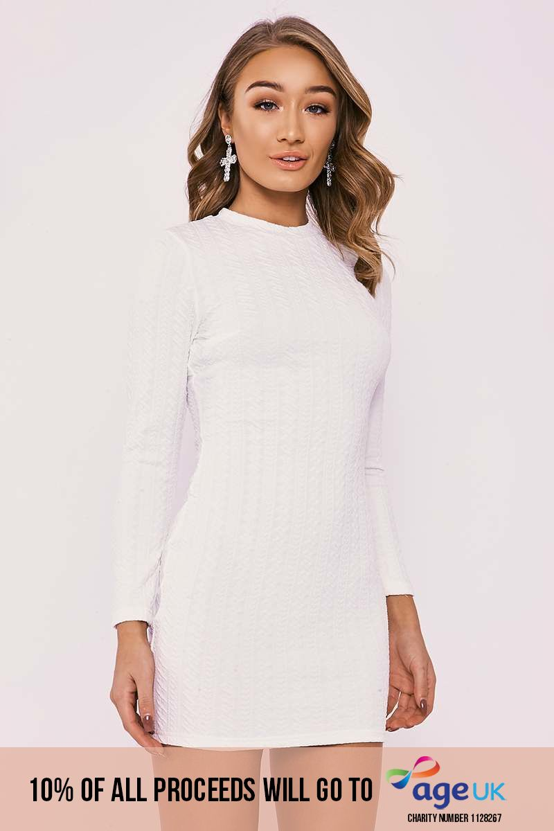 white textured long sleeve mini dress