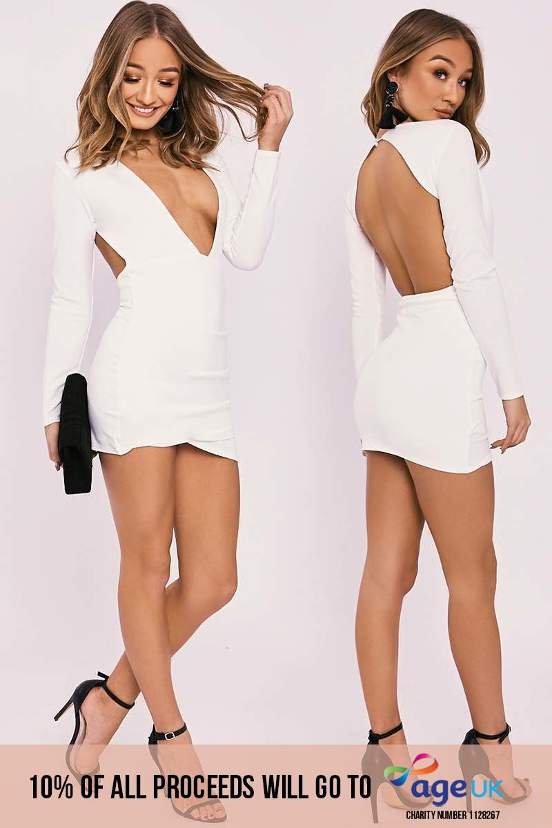 white plunge backless long sleeve dress
