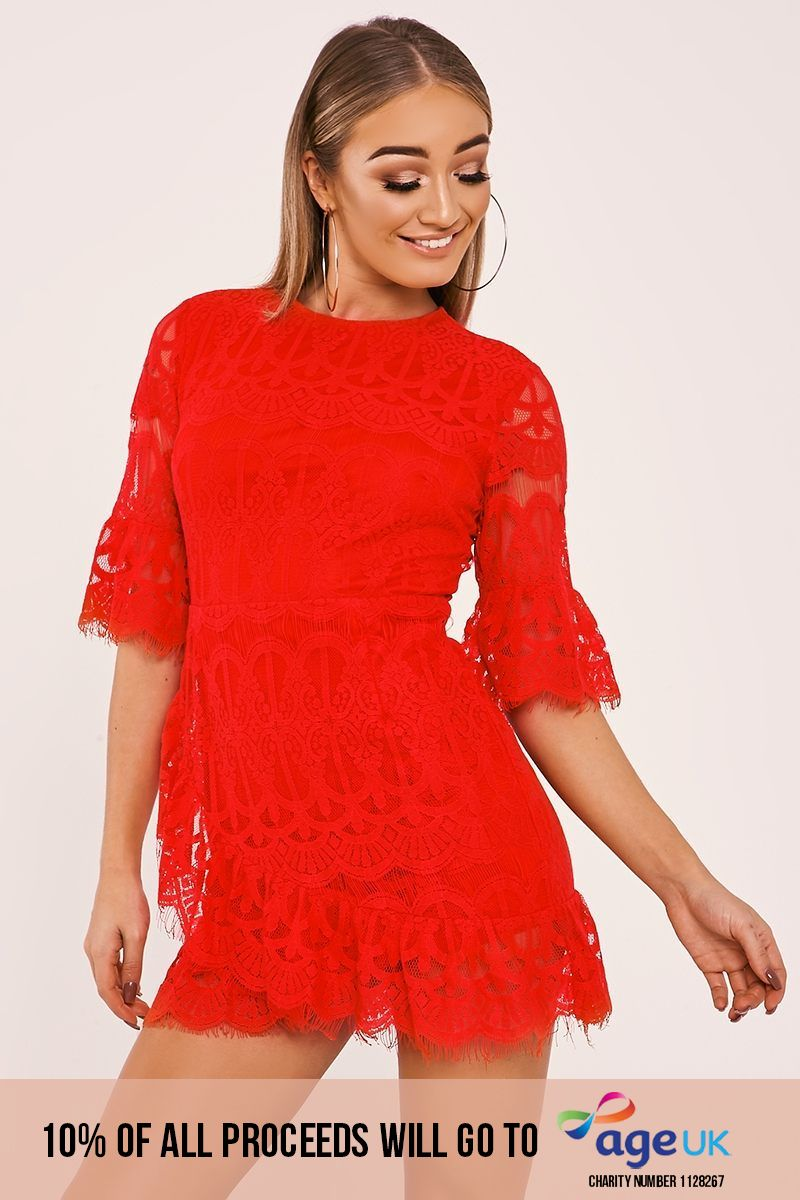 BARRA RED LACE SLEEVED FRILL HEM DRESS