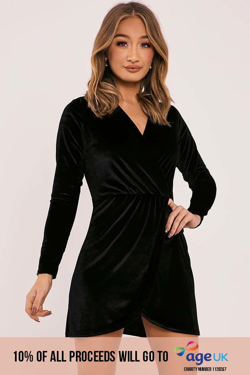 DYANN BLACK VELVET LONG SLEEVE WRAP DRESS